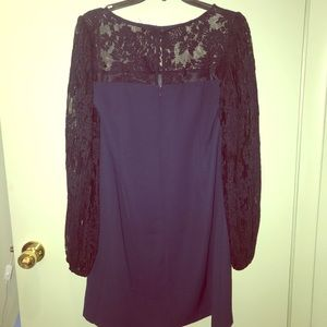 WHBM Navy Blue Dress with Navy Lace Sleeves Sz 10
